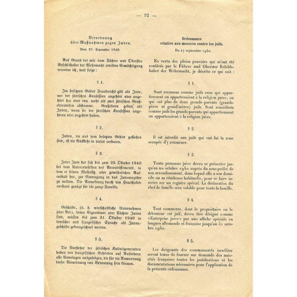 Journal officiel Juifs interdit occupation